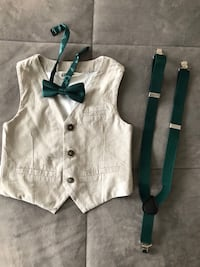 Set of 3: vest, bow tie and suspenders Sizes: 1.5/2 and 4/5
