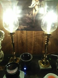 Brass and marble bottom lamps with large globes . 272 mi