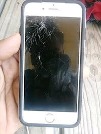 Cracked silver iPhone 6 with black case Baton Rouge, 70820