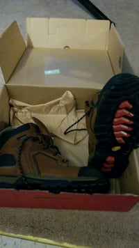 brown-and-black hiking boots
