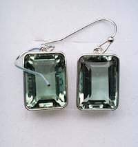 Emerald cut green topaz dangle earrings Baltimore