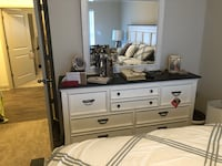 white and brown wooden dresser with mirror Greensboro, 27407
