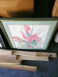 brown wooden framed painting of flowers Victorville, 92392