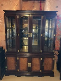 3 piece Brown wooden framed glass display cabinet and dining room set. Vaughan, L6A 4V5
