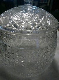Vintage Cut Glass Biscuit Cookie Jar Granbury, 76049