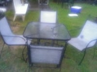 square clear glass top table with black metal base patio set Brockton, 02301