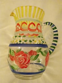Hand painted glass pitcher Simsbury, 06070
