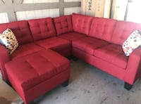 Brand New Red Linen Sectional Sofa Couch +Ottoman  Silver Spring