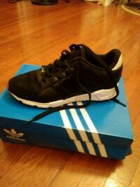 pair of black Adidas running shoes with box Weehawken, 07086