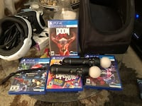 Black sony ps4 console with controller and game cases Las Vegas, 89123
