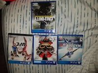 four PS4 game cases