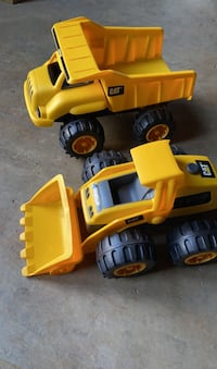 Toy dump truck and loader.