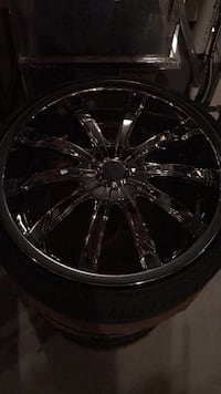 20 inch / 5 lug 4.25 inch or 108mm high Positive Offset / Chrome multi spokes car wheel with tire