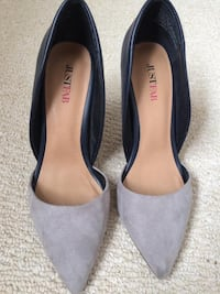 pair of gray suede pointed-toe heels Calgary, T3K 0L4