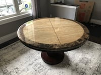 5' round solid granite table and Wood base with matching hutch Milton, L9T 5V4