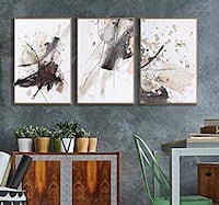 3 wood framed paintings (set of three) 16x24x3 Duluth, 30096