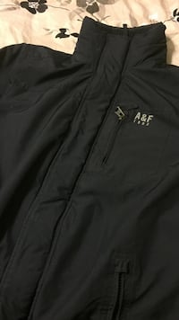 black A&F zip-up turtle-neck windbreaker jacket