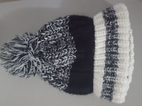 Slouchy grey/black/white beanie