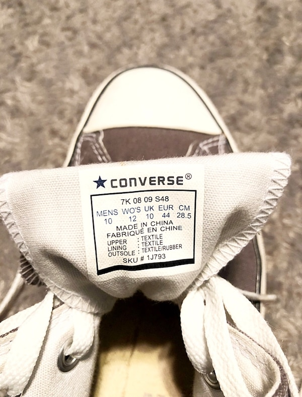 Converse All-Stars paid $56 size 10 men size 12 women Classic Chuck Taylor hi-top. Color grey. Boasts a durable canvas upper, cotton laces, a padded 53f55dfe-3d6f-44d9-8ebe-a182bcbbf59a