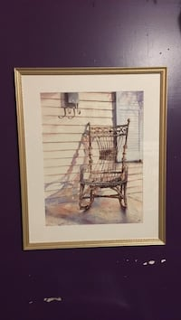 painting of gray wooden rocking chair