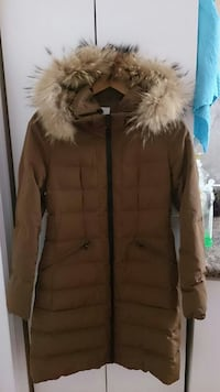 brown fur-lined parka jacket