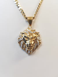 "NEW 20"" 18K Gold Plated 2mm Cuban Chain w/CZ Lion Head Pendant Mississauga"