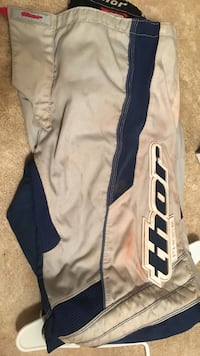 White and blue adidas track pants 65 mi