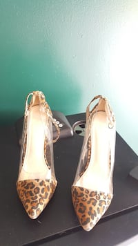Leopard Print Ankle Strapped Heels with See-Thru Sides Terry, 39170