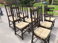 four brown wooden chairs with white pads Pointe-Claire, H9R 1S8