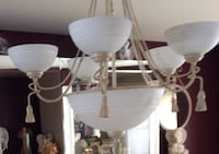 white and beige uplight chandelier matching sconces and matching decor mirrors costume  Freehold township, 07728