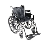 "Drive Medical Silver Sport 2 Wheelchair with Various Arms Styles and Front Rigging Options, Black, 20"" Citrus Heights"