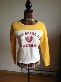 Brand new yellow red white pullover hoodie in xsmall/small