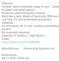 Tumbler Style Composter by Envirocycle Systems Kirkland, H9J
