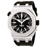 round silver-colored chronograph watch with black strap Brossard, J4W 2Y9