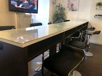 14ft long solid wood bar with 10 chairs Montreal, H3G