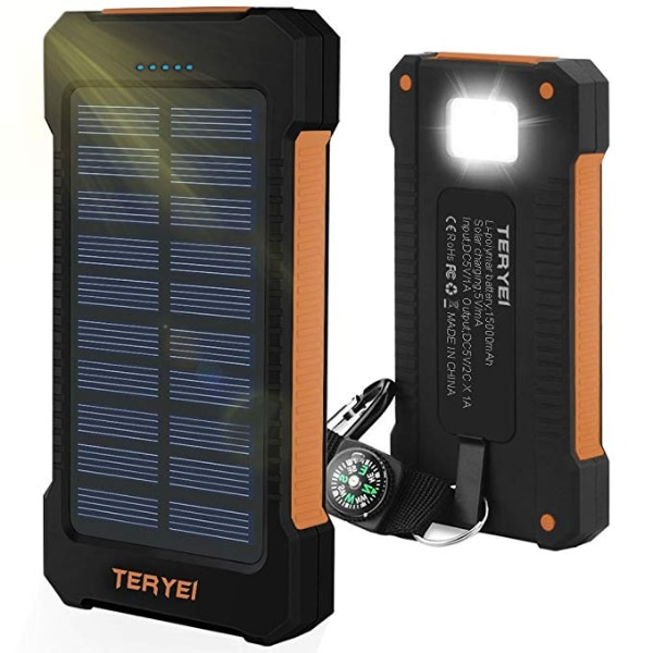 new arrival da31c 9d335 new Solar Charger 15000mAh, Portable Solar Power Bank High Efficiency Solar  Phone Charger with Solar Panel, Dual USB Cell Phone Battery Charger for ...