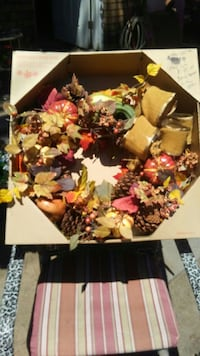 pine cones and maples wreath with box