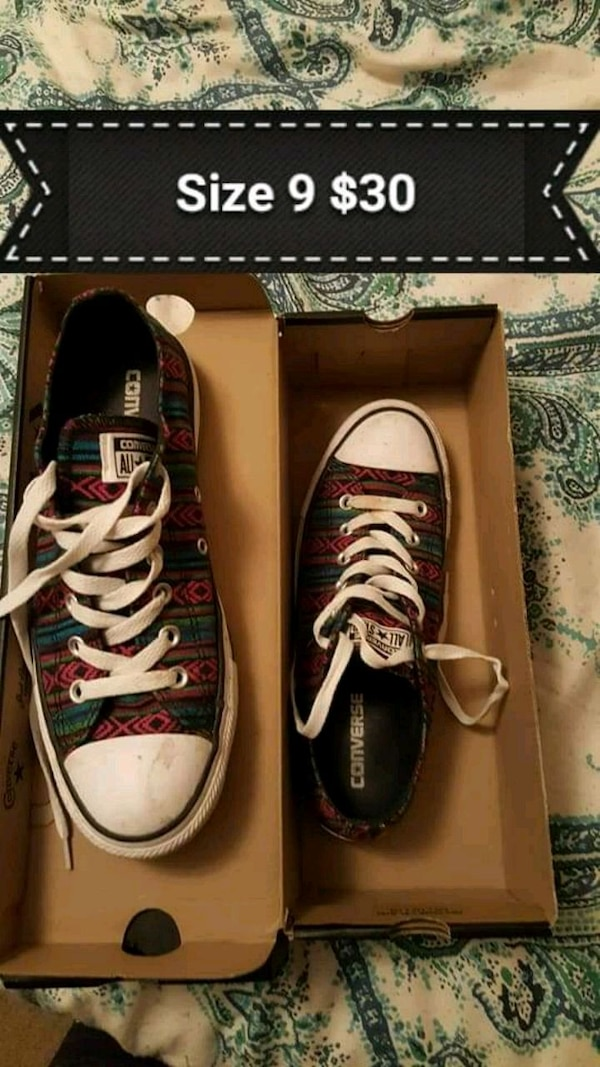 e9597410d36 pair of white-and-multicolored tribal Converse All Star low-top sneakers  with