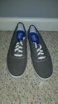 gray-and-white Keds low-top lace-up sneakers
