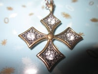 Vintage Ornate Cross Faux Diamond Pendant and Neck