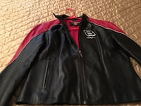 Dale Earnhardt, Jr Ladies Black and Red Leather Racing Jacket