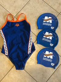 MSSAC Competitive Swim Suit (Adult 30) & 3 Silicone Bathing Caps Mississauga, L5H 1Z6