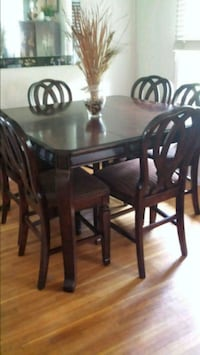 rectangular brown wooden table with four chairs dining set Brick, 08724