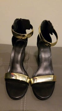 Ladies Black and Gold Wedges Size 7.5