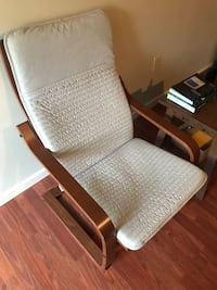 ‏POÄNG ‏Armchair, light beige. And a side table Scranton, 18510