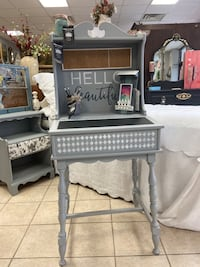 Painted Vintage Desk: Chalkboard, Storage & Corkboard