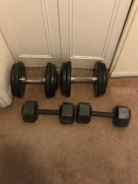 Two black dumbbells and barbell...25lbs and 40lbs District Heights, 20747