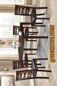 New Espresso Wood Dining Room Set Table 1 Table 4 Chairs