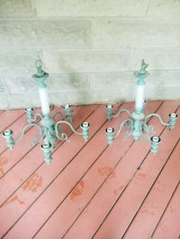 two green metal candle holders Woodbourne, 12788