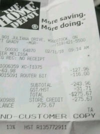Home depot card with $275.67 ¥on it London, N5Z 4L9